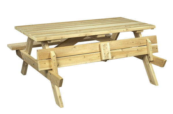 Rustic Natural Cedar 020021A Square Picnic Table - Outdoor Patio Supply - 1