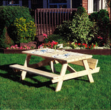Rustic Natural Cedar 020021A Square Picnic Table - Outdoor Patio Supply - 2