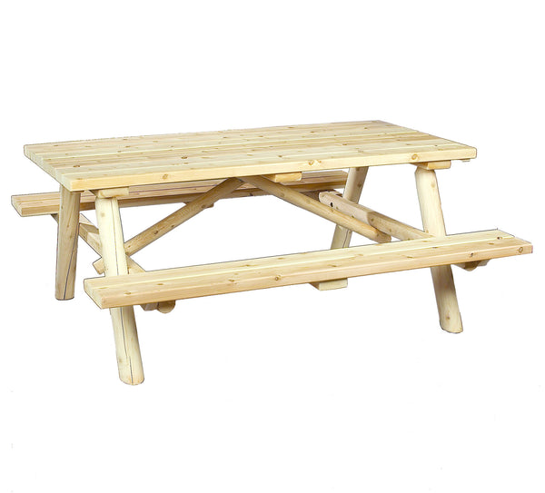 Rustic Natural Cedar 200021 Log Style Picnic Table - Outdoor Patio Supply - 1
