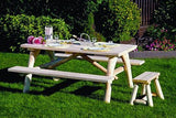 Rustic Natural Cedar 200021 Log Style Picnic Table - Outdoor Patio Supply - 2