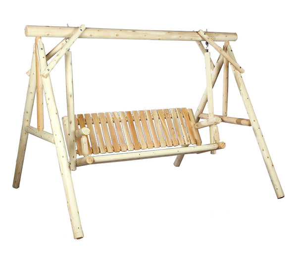 Rustic Natural Cedar 700024 Classic 6' Wooden Swing - Outdoor Patio Supply - 1
