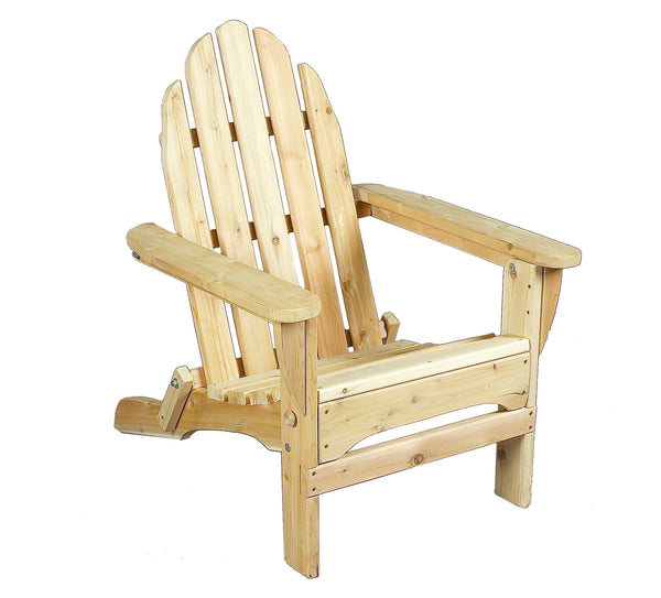 Rustic Natural Cedar 400404 Foldable Adirondack Chair - Outdoor Patio Supply - 1