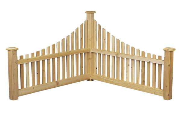 Rustic Natural Cedar 600550 Wood Corner Fence - Outdoor Patio Supply