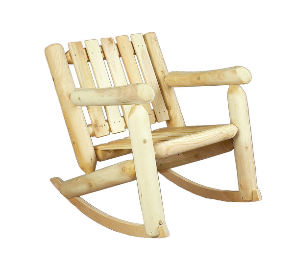 Rustic Natural Cedar 100005 Wooden Rocker Chair 2' Back - Outdoor Patio Supply - 1
