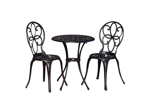 Fire Sense 61490 Antique Bronze Cast Aluminum 3pc. Bistro Set - Outdoor Patio Supply