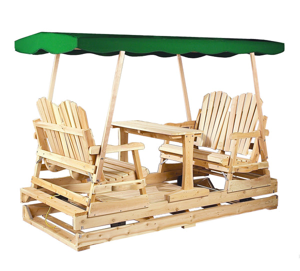 Rustic Natural Cedar 800800 Green Top Deluxe Glider - Outdoor Patio Supply - 1