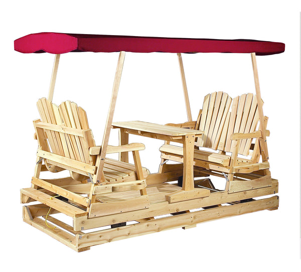 Rustic Natural Cedar 800810 Burgundy Top Deluxe Glider - Outdoor Patio Supply
