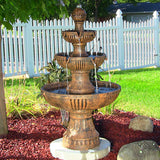 Sunnydaze Flower Blossom 3-Tier Water Fountain - Outdoor Patio Supply - 1
