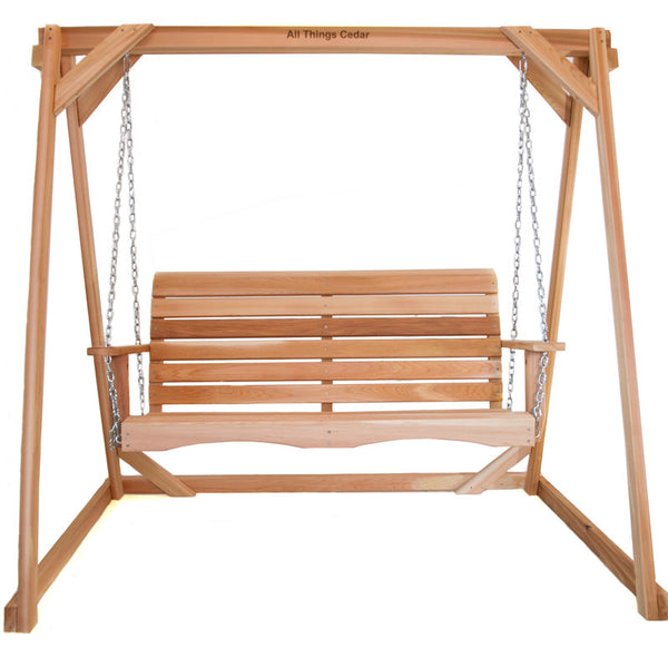 All Things Cedar AF90-S 5ft. Porch Swing w/ A-Frame Set - Outdoor Patio Supply