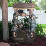Sunnydaze Children at the Well Outdoor Water Fountain with LED Light - Outdoor Patio Supply - 1
