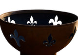 Fire Pit Art Fleur de Lis Steel Constructed Wood Burning Fire Pit - Outdoor Patio Supply - 1