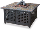 "UniFlame GAD860SP 41.25"" sq. LP Gas Fireplace w/ Slate Mantel - Outdoor Patio Supply - 1"