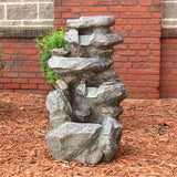 "Sunnydaze 34"" Rock Falls Fountain with LED Lights - Outdoor Patio Supply - 1"