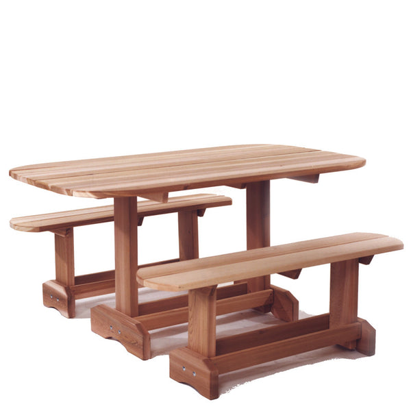 All Things Cedar OT70U Oval Picnic Table Set - Outdoor Patio Supply