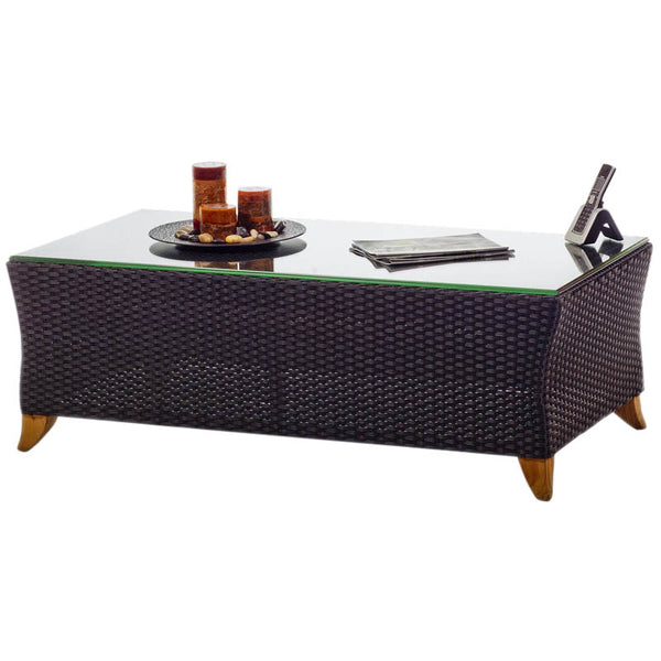 All Things Cedar PR50G Rattan CoffeeTable w/ Glass Top - Outdoor Patio Supply