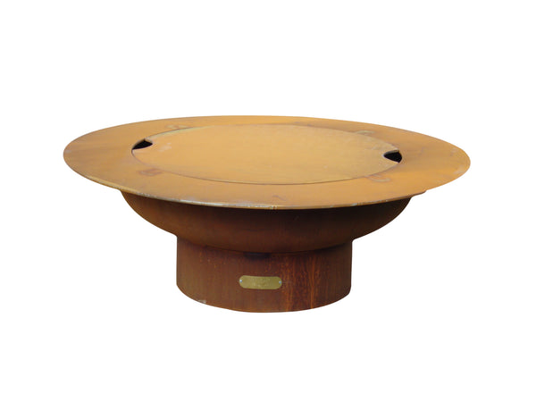 Fire Pit Art Saturn w/lid Steel Constructed Wood Burning Fire Pit - Outdoor Patio Supply - 1