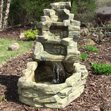 Sunnydaze Stone Falls Outdoor Water Fountain - Outdoor Patio Supply - 1