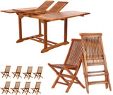 All Things Cedar TD72-22 9pc. Butterfly Folding Chair Dining Set - Outdoor Patio Supply - 1