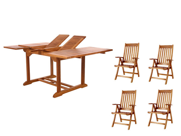 All Things Cedar TD72-44 5pc. Butterfly Folding Arm Dining Set - Outdoor Patio Supply - 1