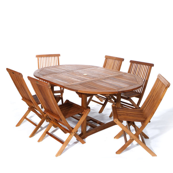 All Things Cedar TE70-22 7pc. Oval Folding Chair Dining Set - Outdoor Patio Supply - 1