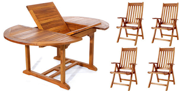 All Things Cedar TE70-44 5pc. Oval Folding Arm Dining Set - Outdoor Patio Supply - 1