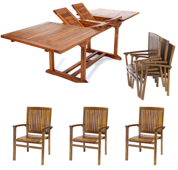 All Things Cedar TE90-24 7pc. Rectangle Stacking Chair Set - Outdoor Patio Supply - 1