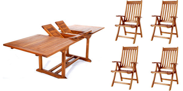 All Things Cedar TE90-44 5pc. Rectangle Folding Arm Dining Set - Outdoor Patio Supply - 1