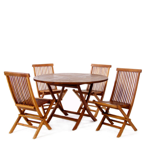 All Things Cedar TT5P 5pc. Folding Table Dining Set - Outdoor Patio Supply - 1