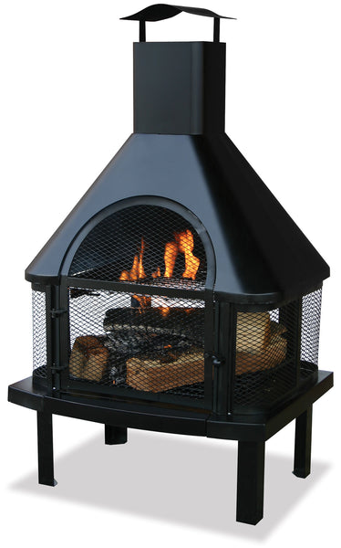 Garden Treasures WAF1013C Black Firehouse w/ Chimney - Outdoor Patio Supply