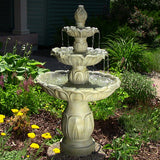 Sunnydaze Classic Tulip 3 Tier Water Fountain - Garden Stone Finish - Outdoor Patio Supply - 1