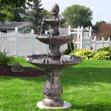 Sunnydaze Classic Pineapple 3 Tier Water Fountain in Dark Brown Finish - Outdoor Patio Supply - 1