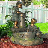 Sunnydaze Country Children and Water Pump Fountain w/ LED Lights - Outdoor Patio Supply - 1