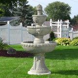 Sunnydaze Four Tier Lion Head Water Fountain - Outdoor Patio Supply - 1