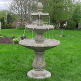 Sunnydaze Classic Pineapple 3 Tier Water Fountain in Garden Stone Finish - Outdoor Patio Supply - 1