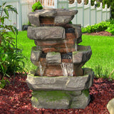 Sunnydaze Large Rock Quarry Water Fountain w/ LED Lights - Outdoor Patio Supply - 1