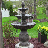 Sunnydaze Classic Tulip 3 Tier Water Fountain - Dark Brown Finish - Outdoor Patio Supply - 1