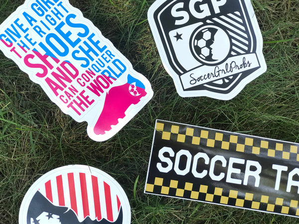 Give A Girl The Right Shoes Sticker - soccergrlprobs