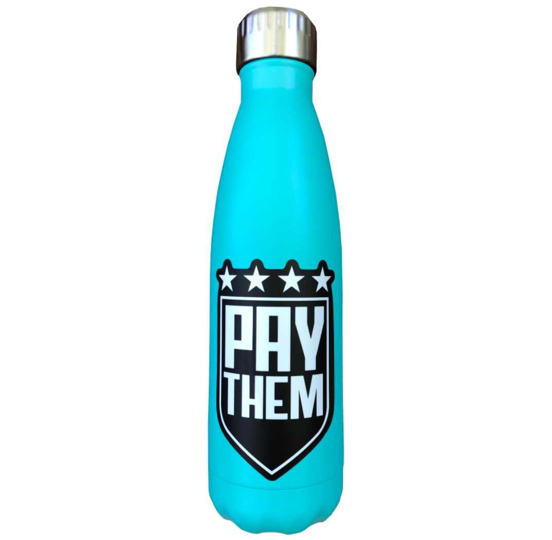 17 oz Stainless Steel Teal BIGGER THAN SOCCER Water Bottle