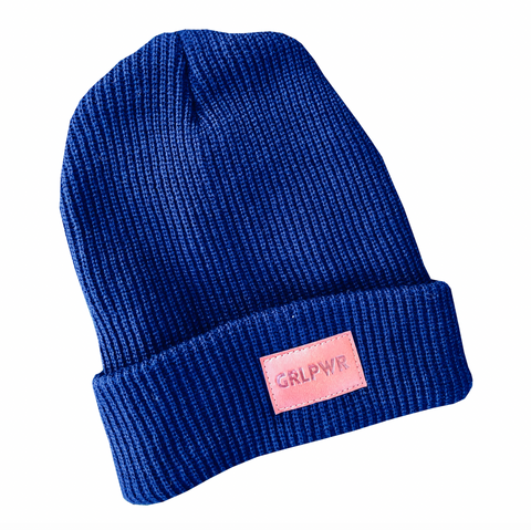 Navy GRLPWR Leather Patch Beanie