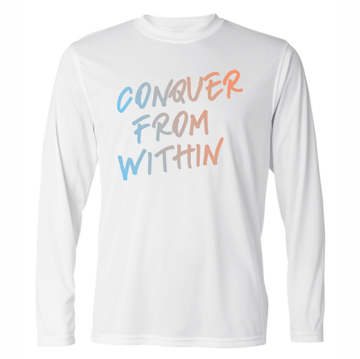 conquer from within long sleeve white performance shirt by soccergrlprobs