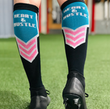 HUSTLE AND HEART Soccer Socks