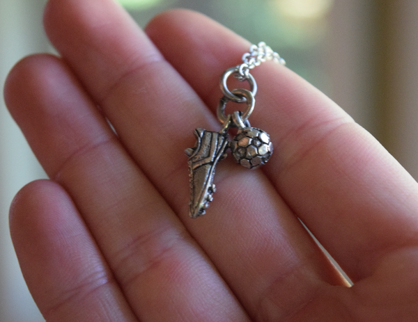 Cleat & Soccer Ball Charm Necklace - soccergrlprobs