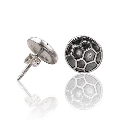 Sterling Silver Soccer Stud Earrings
