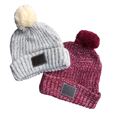 Leather Patch Lifestyle Pom Beanie