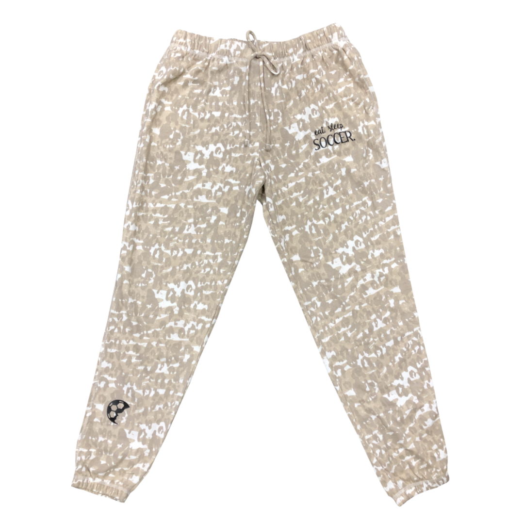 EAT SLEEP SOCCER Cheetah Lounge Pants - soccergrlprobs