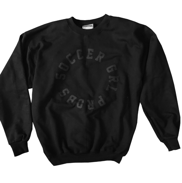 Black On Black SoccerGrlProbs Crewneck Sweatshirt - soccergrlprobs
