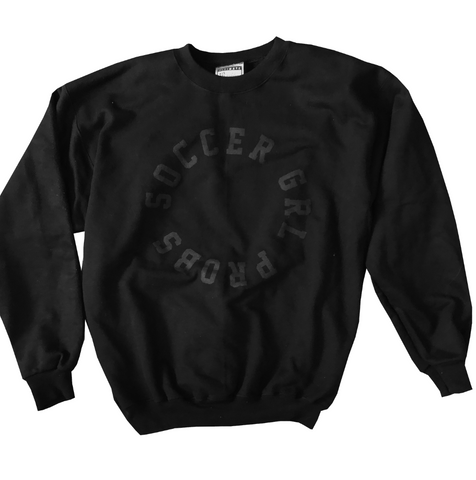 Black On Black SoccerGrlProbs Crewneck Sweatshirt