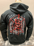 Firefighter Thin Red Line Zip Hoodie in Black