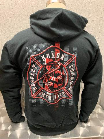 Firefighter Thin Red Line Zip Hoodie