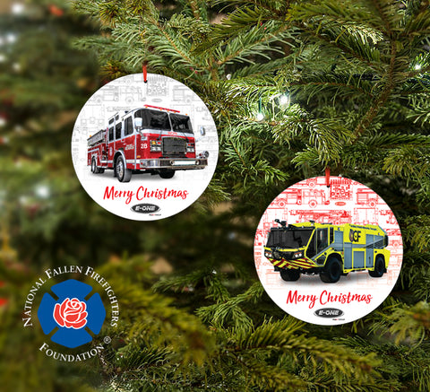 E-ONE 2018 Fire Truck Christmas Tree Ornament